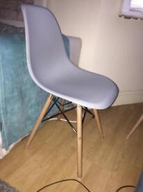 4 x grey designer chairs