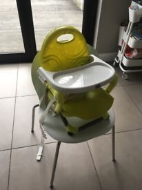 Feeding chair that attaches to any dining chair.