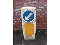 Old vintage traffic island bollard sign