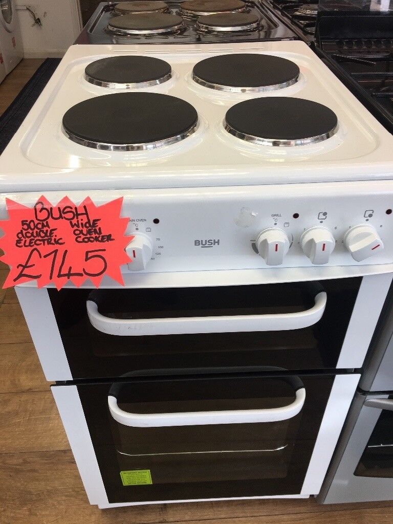 BUSH 50CM SOLID TOP ELECTRIC COOKER IN WHITE