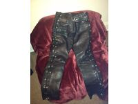 JTS Side-laced leather jeans Size 12