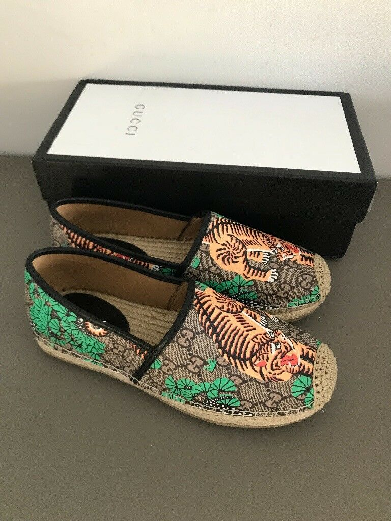 357dbc5aa GUCCI Mens Bengal Tiger GG Supreme Espadrille Shoes Size UK 7 - Brand New  In Box