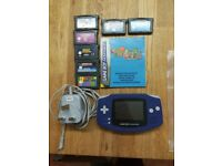 Original Nintendo Game Boy Advance Purple Handheld System WITH 7 GAMES + Charger