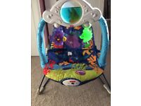 Fisher Price Calming Vibrations Baby Bouncer Sea Friends Design