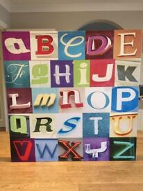 Colourful alphabet canvas