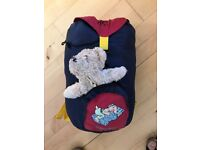 Child Sleeping bag in rucksack with teddy