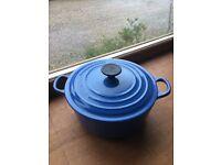 Le Creuset Signature Cast Iron Round Casserole 20cm Marseille Blue