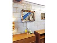 Vintage 1950's Over Mantle Venetian Tinted Mirror