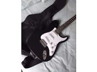 ELECTRIC GUITAR Stat style with case -Power Play -GOOD condition FULL SIZE