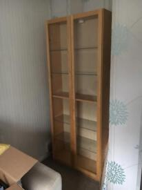 Pine effect display cabinet