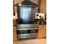 Brittania double oven with hood and splashback