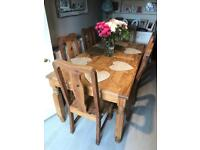 Large Farmhouse dining table and 6 chairs wood