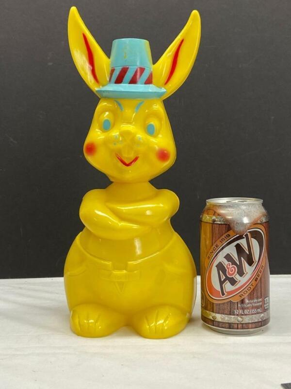 """Vintage 12"""" Hard Plastic Easter Bunny Bank 1950"""