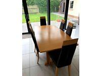 Beech extending table 6 chairs