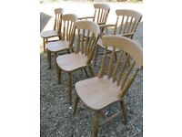 6 SLAT BACK KITCHEN / DINING CHAIRS. Delivery poss. PINE TABLES, CHURCH CHAIRS & PEWS ALSO FOR SALE.