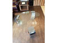 COFFEE TABLE -GLASS + CHROME LEGS- MODERN DESIGN
