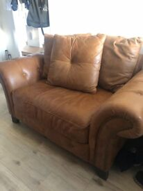 Large real leather tan arm chair