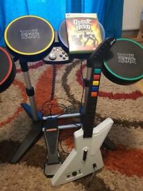 Guitar hero game with drums and guitar(Xbox 360)