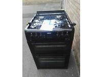 Beko 60cm black gas cooker and double oven virtually new
