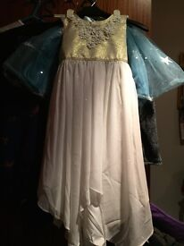 Brand new monsoon girls gold and white dress size 6 years