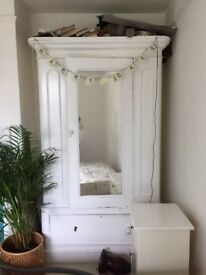 Beautiful white wardrobe for sale with mirror