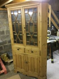 Beautiful antique pine corner cupboard.
