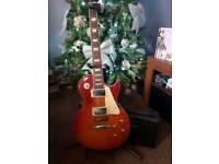 Sunburst electric guitar with amp