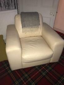 2 x cream leather chairs