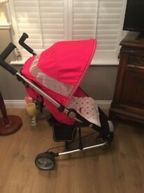 Lovely petite star Zia 2 pushchair pink