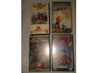 4 VHS TAPES OLD RARE COWBOY JOHN WAYNE TRUE GRIT YELLOW RIBBON APACHE 80's