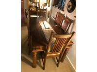 Dining table solid wood and 6 chairs