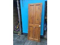 Two 4 panel pine doors