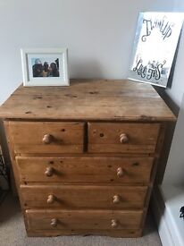 Shabby chic, solid wooden chest of draws - deep draws, excellent storage