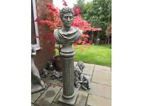 Large stone garden male bust on round plinth. New