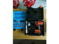 Black and decker 18volt hammer drill and 3/8 Socket Set For Sale