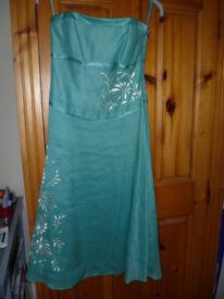 USED Women's Monsoon Turquoise Linen dress size 8