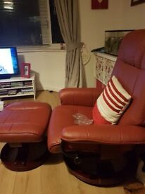 Recliner massage chair and footstool fully working with remote and all leads