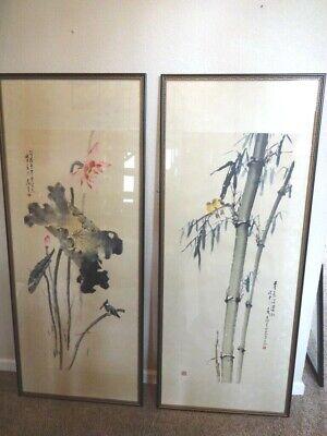 Vintage Pair of Chinese Hanging Scrolls 66