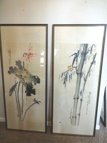 "Vintage Pair of Chinese Hanging Scrolls 66""-SIGNED and FRAMED!"