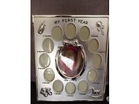 Silver baby frame 'my first year'