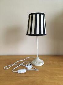 Pretty striped Lamp with cream patterned metal base and on/off switch.