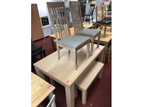 Sienna dining table and 2 benches with 2 chairs