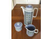 Hornsea pottery tapestry coffee pot, milk jug & sugar basin
