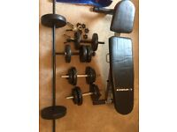 Adjustable weights bench, dumbbells and barbels with 65kg+ of weights