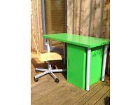 Desk, cupboard and chair. Green. IKEA.
