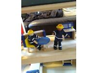 Wooden fire station,fire engine furniture and figures