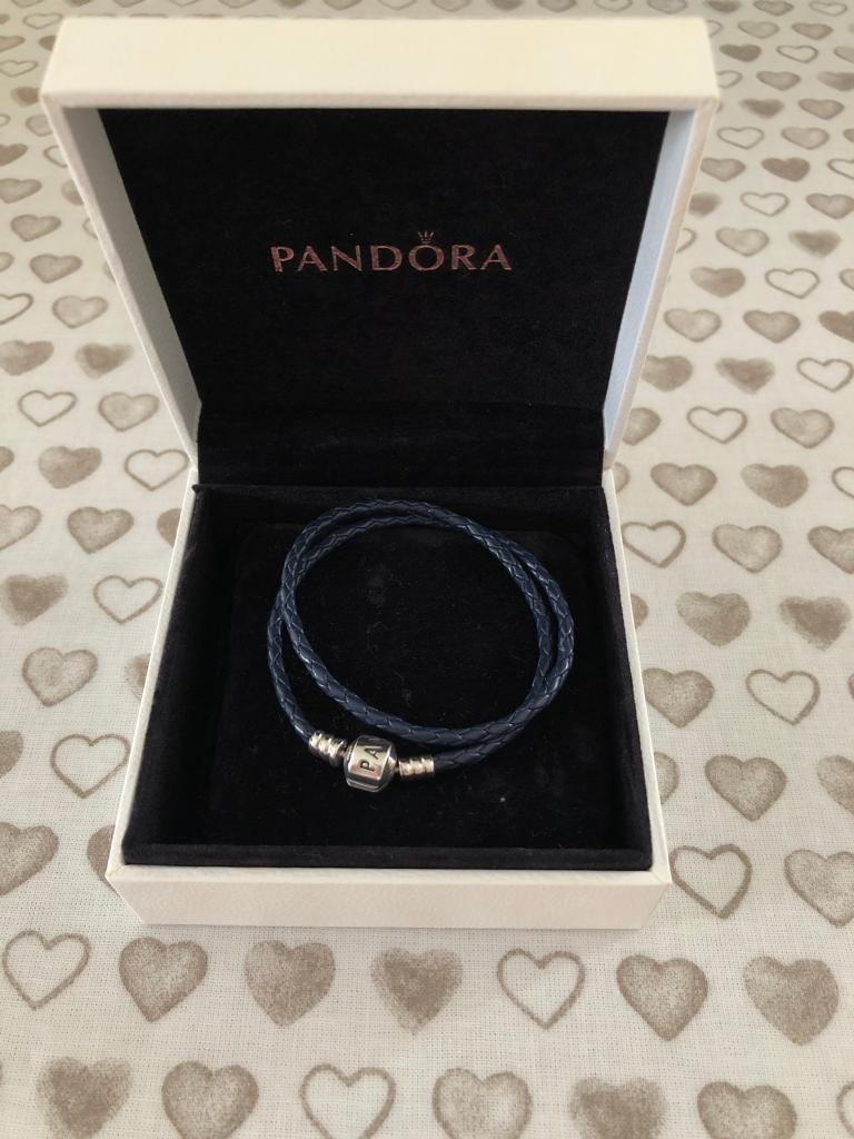 05e3319ce ... get pandora moments double dark blue woven leather bracelet 8f29f 2e1be