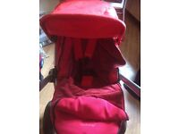 RED QUINNY BUZZ PRAM WITH MAXI COSI CAR SEAT + EXTRAS