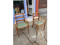 Lovely Pair of Antique Oak Church/Chapel Elder's Chair with Green Upholstery