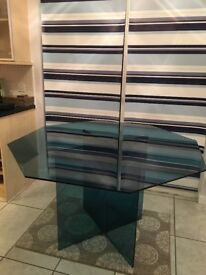 Retro blue glass 8 sided dining table - Carnbroe